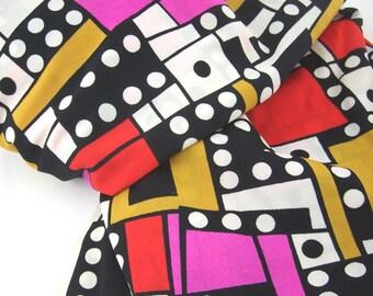 Mid Century Modern Fabric, Op Art, Pink, Black, Atomic, Mod