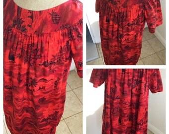 1940s red Hawaiian summer cotton dress summer dress size Medium