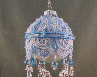 angel embellished lace covered beaded ornament