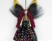 Dead Fairy Ornament, Unusual gift, dead fairy peg doll, Day of the Dead fairy decoration