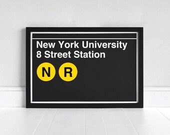 New York University 8 Street Station - New York Subway Sign - Art Print