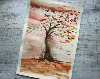 Stormy day autumn fall landscape original watercolor painting 10x14 rainy