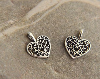 10 pcs antique silver   plating heart   pendant finding