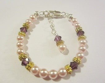 Newborn baby sterling silver filled crystal and pearl birthstone bracelet