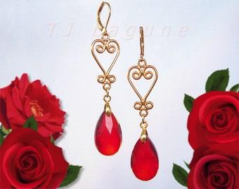 Red Glass Dangle Earrings, Red Drop Earrings, Gold Hearts