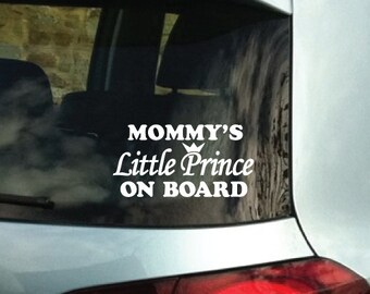 Custom Name Mommy's Prince on Board Vinyl Bumper Car Decal Sticker 1155