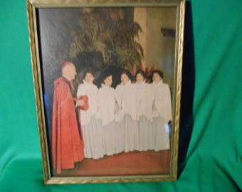 "One (1), 10"" by 13"" Framed Picture of the Dionne Quintuplets, with Cardinal Stritch."