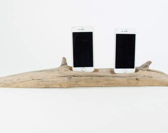 Docking Station for 2 iPhones, iPhone dock, iPhone Charger, iPhone Charging Station, driftwood dock, wood iPhone dock/ Driftwood-No. 985