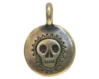 6 TierraCast Skull 5/8 inch ( 17 mm ) Brass Plated Pewter Charms Pendants