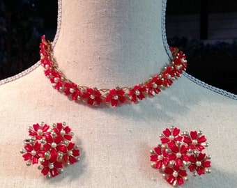 HOLIDAY SAVINGS Red Necklace Earring 1950 1960 Demi Parure Cherry Red Thermoset Floral Mad Men