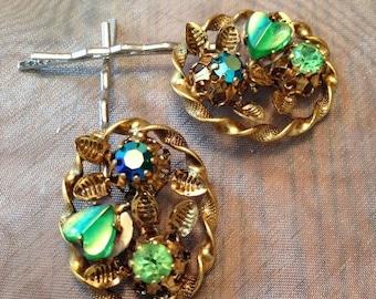 HOLIDAY SAVINGS Decorative Hair Pins Jewelry 1940's Molded Green Heart AB Rhinestone Hairpins Bobby Pins