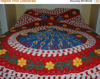 HOLIDAY SAVINGS Peacock Chennille Bedspread Red Vintage Cotton Blue Peacock Very PLUSH ~