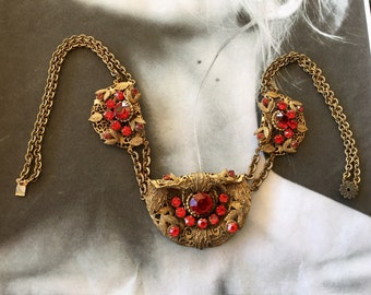 Czech Red Necklace Victorian Vintage Art Deco Gilt Filigree