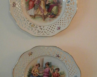 Vintage Ornate Pair Wall Plate Decor -- Germany