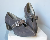 Gray Suede Shoes / Vtg 40...