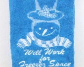 Snowman Will Work for Freezer Space Microfiber towel - Blue
