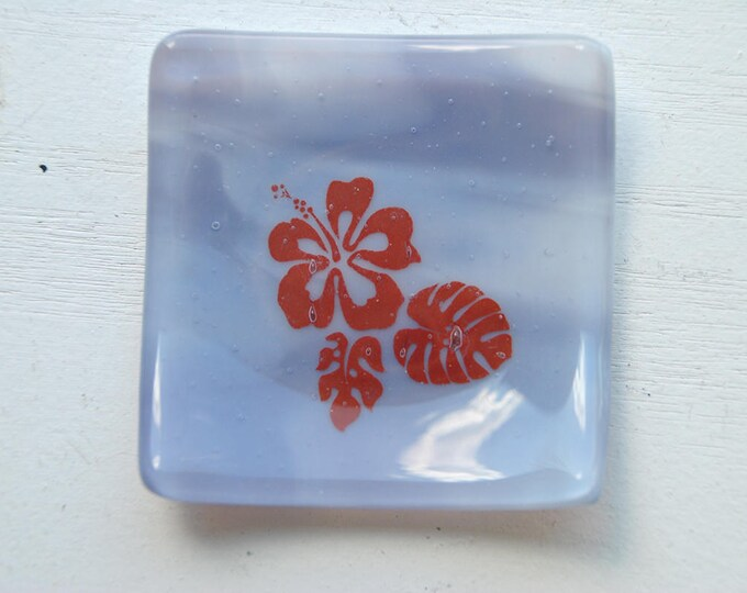 Lavender Hibiscus Mini Fused Glass Dish