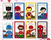 INSTANT DOWNLOAD: Super Hero Boys Valentines Day Cards, Superhero Valentine Cards, Kids Valentine Card, Superhero Valentine Cards, Valentine