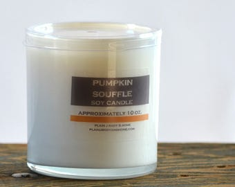 SALE - Pumpkin Souffle Soy Candle White Glass Tumbler 10oz  - pumpkin candle - holiday soy candle - food soy candle - fall candle