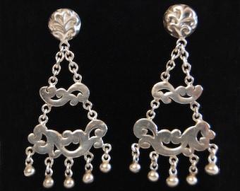 Lois Hill Chandelier Earrings Vintage Scroll Style Sterling Silver Hanging Chain Beaded Dangle Earrings
