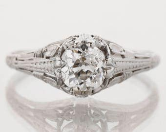 Antique Engagement Ring - Antique Platinum Diamond Engagement Ring