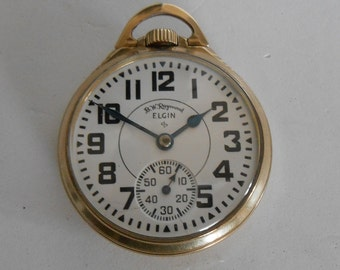 B.W. Raymond -21J, 8 Adjustments Elgin Size 16 Rail Road Grade Pocket Watch Runs Accurately