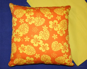 Hybiscus print cushion cover generous 45cmX45cm 100% cotton hand made.