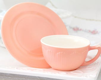 Vintage Hazel Atlas Tea Cup and Saucer, Salmon Color, Tea Party, Gifts for Her, Replacement China