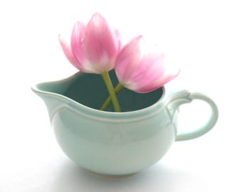 Mid Century Tiffany Blue Creamer or Gravy Boat, Creamer by Lu-Ray Pastels, Replacement China
