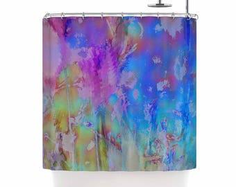 Painterly Foliage series 3/3, shower curtain, original modern art