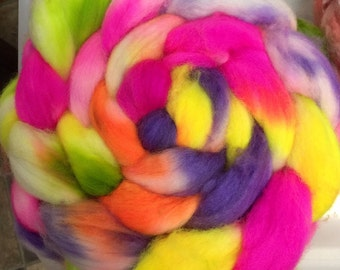 Color Me Crazy Superwash Handpainted Spinning Roving made to order