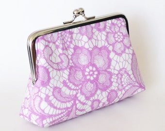 CLUTCH in Mauve Lace - LARGE