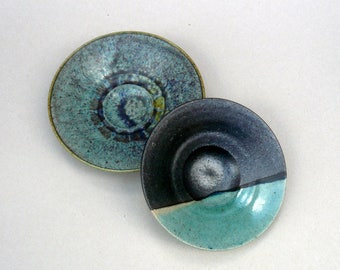 Decorative Bowls ,Turquoise And Black Bowl Set  , Footed Bowls, Contemporary Decor