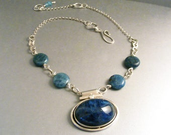 Deep blue bold apatite sterling silver necklace, large natural oval cabochon with natural apatite beads choker