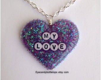 My Love Purple Resin Heart Necklace