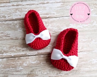 Red Crochet Baby Booties , Baby Girl Clothes, White Bow Crochet Booties, Baby Girl Booties, Baby Shoes, Red Baby Shoes, Baby slippers