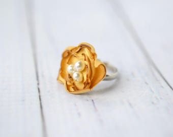 ANTIQUE GOLD color satin flower ring with faux pearls - ladies size 6.5+ (adjustable) ring - gold color bridesmaid accessory, ready to ship