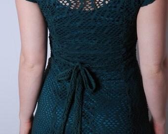 90s medium green stretch fishnet midi dress womens vintage clothing grunge chic net dress Breakin Loose
