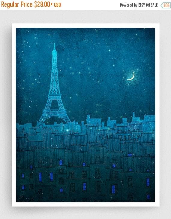 30% OFF SALE: The Eiffel tower in PARIS - Paris illustration Art Illustration Print Poster Paris Art Paris decor Home decor Architecture Blu