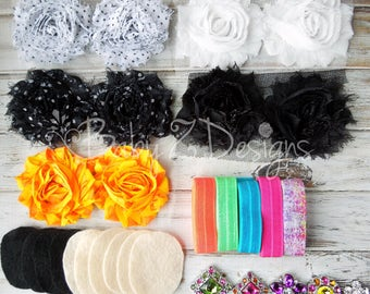 DIY Headband Kit in Black, White, Orange Stripe, and Neon - Can be sized to fit Newborn, Infant, Toddler, Girl, Tween, Teen, or Adult