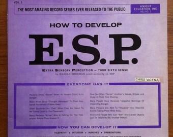 SPRING SALE Extra Sensory Perception - How To Develop It Vinyl LP 1964 Knight Educational Records Esp Sixth Sense Harold Sherman