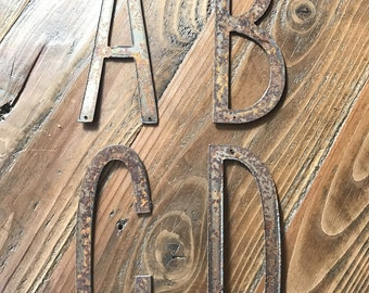 """RUSTED Metal Letters Rustic - Make your own Signs ! 6"""" -predrilled"""