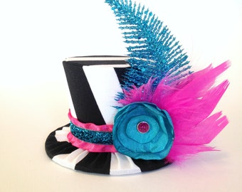 Mini Top Hat Headband, 1st Birthday, Black Stripe, Tea Party, Sparkle Birthday, Circus Costume, Photo Prop, Cake Smash, Pageant, MSC-004