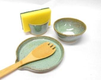 Pottery Kitchen Set in Speckled Turquoise Spoon Rest Sponge Holder Salt Bowl Pinch Pot Nut Bowl Ring Dish Wedding Gift Housewarming Gift