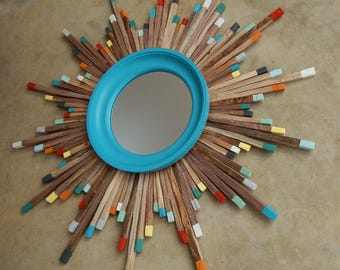 Colorful Mid Century Modern Wood Starburst Mirror, MADE TO ORDER