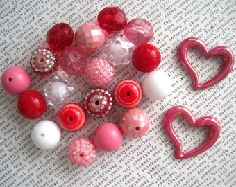 Heart Necklace Kit, Valentine Necklace Kit, Red and Pink Necklace, Gumball Bead Kit, Bubblegum Necklace Kit, DIY Necklaces