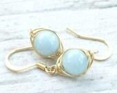 20% off Sale Aquamarine Earrings, Aquamarine Jewelry, Gold Jewelry
