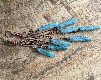 Extra Long Blue Kyanite Waterfall Crystal earrings a47 . rustic raw crystals . healing crystals . primitive jewelry long cluster hippie chic