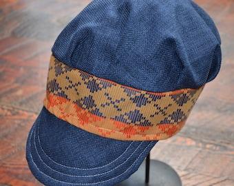 Blue and Orange Diamond Newsboy Hat