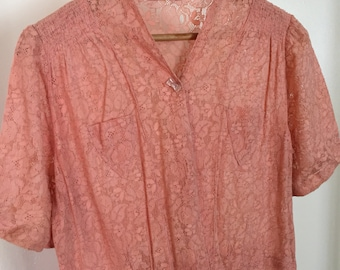 Vintage 1930's Midi Pink Lace Afternoon Dress